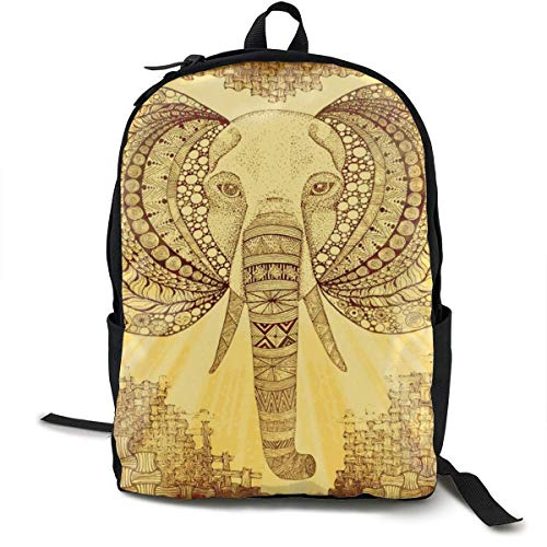 DJNGN Mochila Informal Mochila Escolar Mochila de Viaje Classic Backpack,Elephant Zen Kalahari Casual School Bag Large Capacity Novelty Laptop Bag for Teens Women Men Travel Hiking