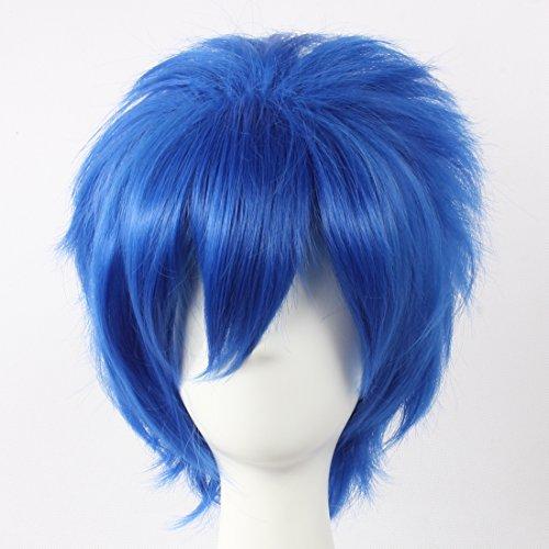 HOOLAZA Blaue, kurze geschichtete Perücke Vocaloid Kaito Fairy Tail Jellal Fernandes für die Halloween-Party-Cosplay-Perücken