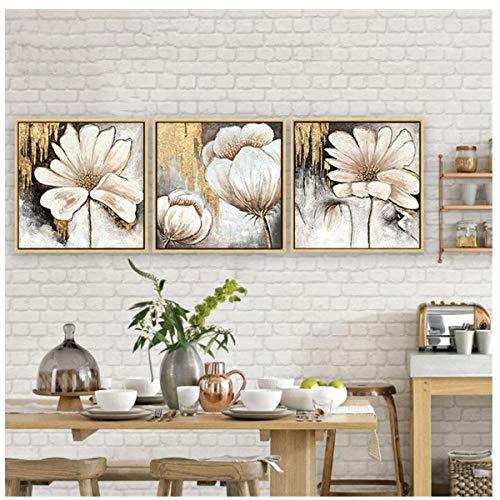 Jwqing 3 stuks canvas schilderij modern aan de muur schilderij woonkamer en slaapkamer kunst decoratieve schilderijen bloemenschilderijen (60x60cm geen lijst)
