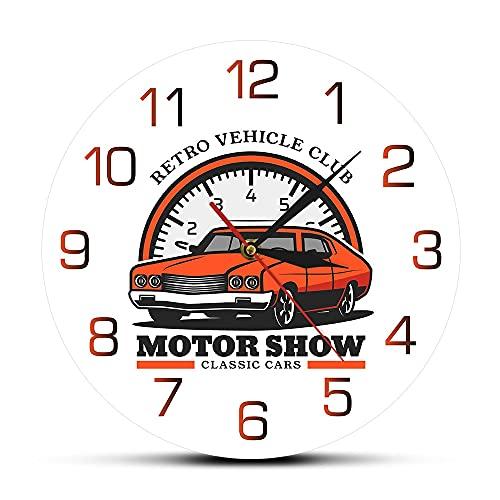 Rgzqrq Auto Show Vehicle Club Reloj de Pared impresión Reloj de Pared tráfico clásico Garaje de Coche Letrero Comercial Arte de Pared 12 Pulgadas