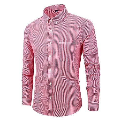 Heren Gestreepte Jurk Shirts Lange Mouw Turn-Down Kraag Knop Slim Fit Regular Fit Casual Zakelijke Shirts Blouse
