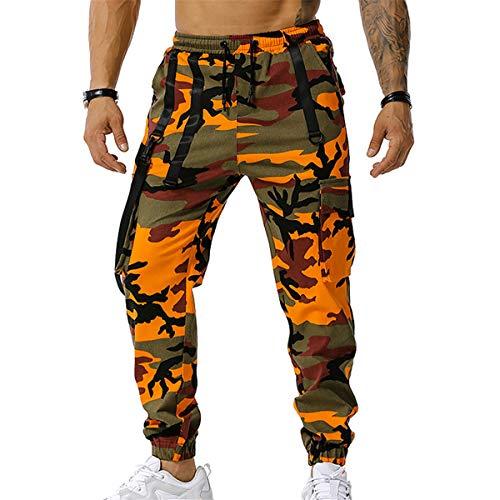Herren Multi-Taschen Outdoor Wanderhose, Chickwin Taktisch Camouflage Hose Army Combat Hose Trekking Jagd Camping Wandern Militär Camo Cargohose Tarnhosen (3XL,Orange)