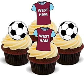 FOOTBALL MIX WEST HAM - 12 Edible Stand Up Premium Wafer Cake Toppers
