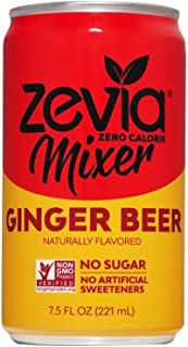 Zevia Ginger Beer, Zero Calories or Sugar, Naturally Sweetened with Stevia Leaf Extract , A Perfect Drink Mixer,7.5 Fl Oz, Pack of 12