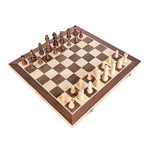GoolRC チェス 折りたたみ チェス盤 木製格子グリッド磁気 チェス駒付き