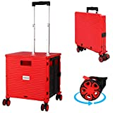 Rolling Cart with Wheels Folding Portable Plastic Crate Foldable Utility Handle Handcart with Lid 4 Wheeled Grocery Storage Heavy Duty Collapsible Mobile Trolley Box for Shopping, Office, Travel
