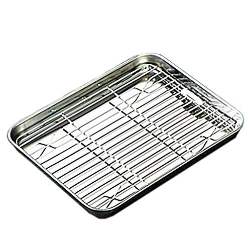 SHUANGSHI Baking Tray, Baking Sheet Tray with Removable Rack Set Stainless Steel Cooling Pan for Oven Dishwasher Safe 10.43×8.07×0.98in