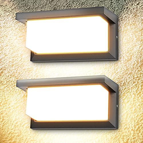 2 Pezzi Applique da Parete 18W Con Sensore di Movimento Applique Esterno Bianco Caldo 3000K Lampada da Parete 1260lm IP65 Impermeabile