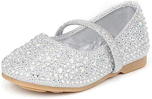 DREAM PAIRS MUY-Shine-INF Mary Jane Girls Rhinestone Studded Slip On Ballet Flats Toddler New Silver Size 6