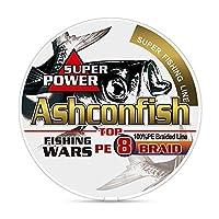Ashconfish PEライン 釣り糸 X8 300m (1号 1.2号 1.5号 2号 2.5号 3号 3.5号 4号 5号 6号 7号 8号 9号 10号) ブラック&ホワイト