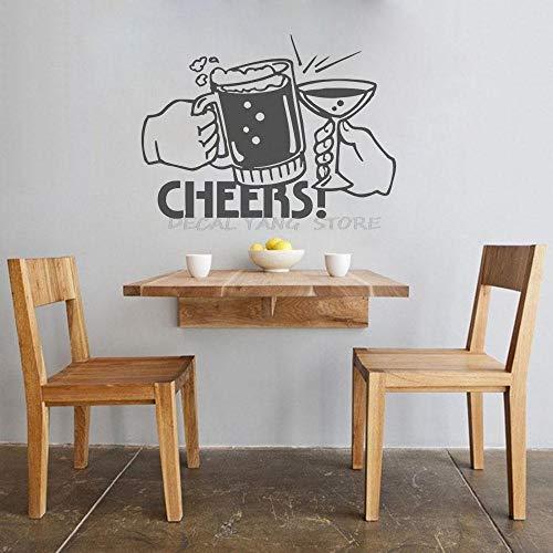 Tatuajes de pared Arte de la cocina Pegatinas de pared Adornos decorativos para el hogar Papel tapiz Vaso de cerveza Bebida Saludos Patrón extraíble-42x57cm