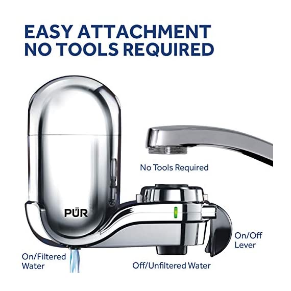 PUR FM-3700 Advanced Faucet Water Filter, Chrome 3 Advanced Faucet Filtration System: Featuring Sinple One Click Tool Free Attachment, There's Never Been an Easier or More Reliable Way to Get Healthier, Cleaner, Great Tasting Water Straight From Your Faucet Faucet Water Filter; PUR faucet filters provide 100 gallons of filtered water, or 2 3 months of typical use, before you need a replacement. Only PUR faucet filters are certified to reduce contaminants in PUR faucet filter systems WHY FILTER WATER? Home tap water may look clean, but may contain potentially harmful pollutants & contaminants picked up on its journey through old pipes. PUR water filters, faucet filtration systems & water filter pitchers reduce these contaminants