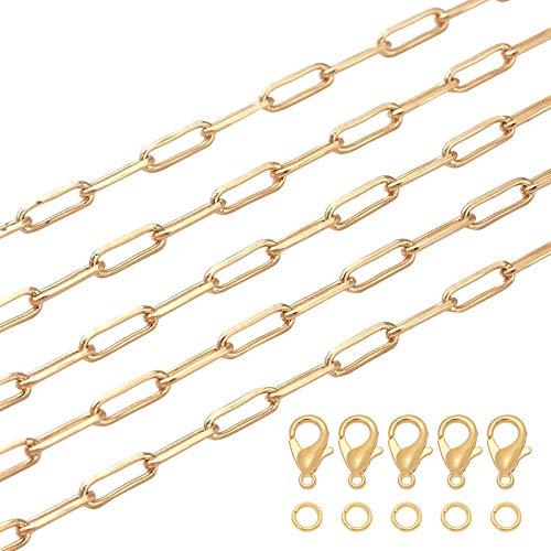 BENECREAT 1m Cadenas de Clip Chapadas en Oro 18K Cadenas de Cable Alargadas de Latón con 10 Cierres de Garra de Langosta y Anillos de Salto para Hacer Pulseras, Collares, Bricolaje