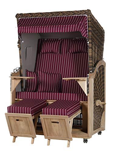 WODEGA Akazienholz Strandkorb 2 - Sitzer Flieder Nadelstreifen Innen Grau Geflecht Croco, 2 Schwenktische inkl. Rollen fertig montiert Strandstuhl