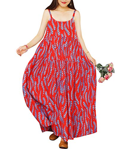 YESNO Women Casual Loose Bohemian Floral Print Dresses Spaghetti Strap Long Maxi Summer Beach Swing Dress M E75 CR32
