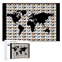 INOV パターンが付いている世界地図 ジグソーパズル 木製パズル 1000ピース インテリア 集中力 75cm*50cm 楽しい ギフト プレゼント