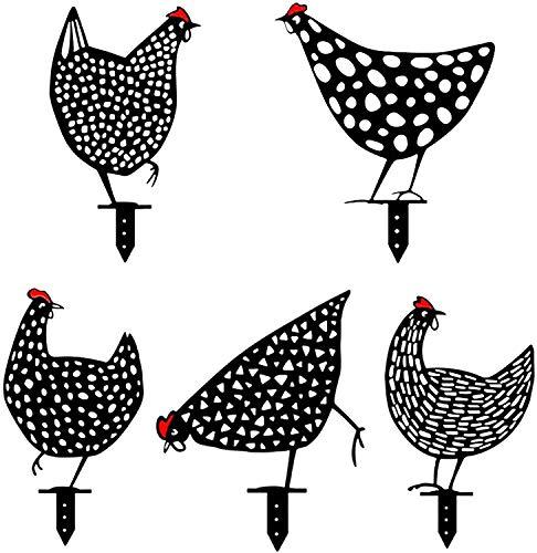 Flyglobal Ornements Poule Réaliste en Métal Acrylique Décoration pour Jardin Pelouse Extérieure, Silhouette Exquise de Poulets Art de Cour (5PCS)