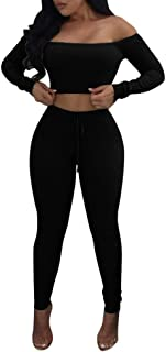 Funnygals - Women's 2 Piece Outfits Knitted Off Shoulder Long Sleeve Crop Top and Long Pants Tracksuits Lounge Wear
