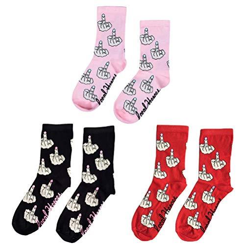 Gestrickte Socken 3 Paare Mittelfinger Socken Weiche Personalisierte Socken Gedruckt Mittelrohr Erwachsenen Socken für Frauen und Männer