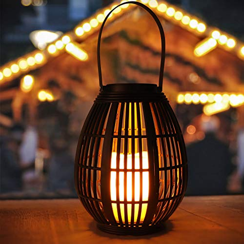 Solar Lanterns Outdoor Hanging, Golwof Outdoor Garden Hanging Lights Decorative Waterproof Flameless Candle Mission Lights for Garden, Party and Tabletop (Black)