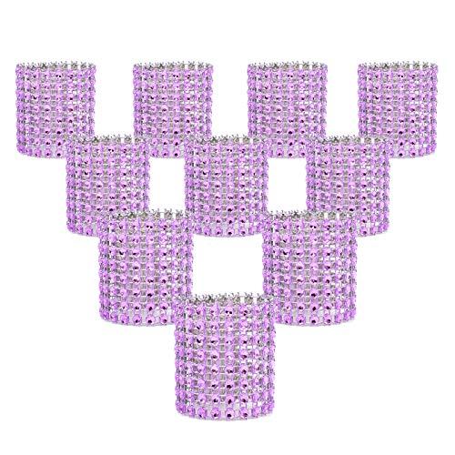 KPOSIYA Napkin Rings, Pack of 120 Rhinestone Napkin Rings Diamond Adornment for Place Settings, Wedding Receptions, Dinner or Holiday Parties, Family Gatherings (120, Purple)
