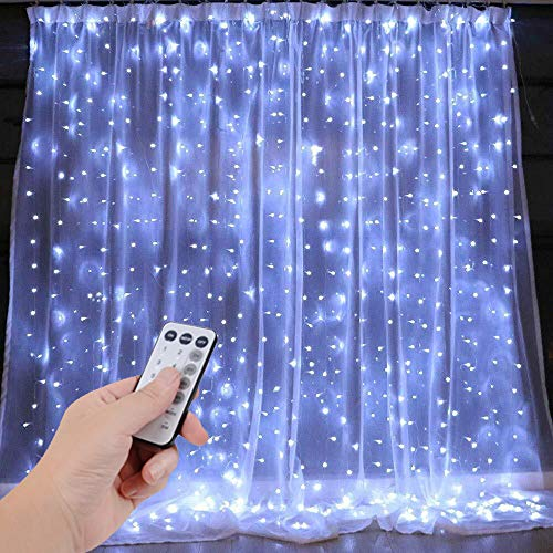 DLPIN UL Safe 300 LED 9.8FT Linkable Curtain Lights Icicle Lights Fairy String Lights with 8 Modes for Christmas
