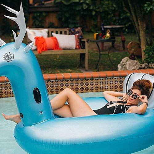 VIWIV Colchón Inflable Piscina Flotante Fila Bed Bed Beach Inflatable Sillón Reclinable Fila Flotante Elk Monte Adulto Agua Inflable Juguete Pony Flotante y Drenaje Cama Flotante Sofá 274 * 119 *