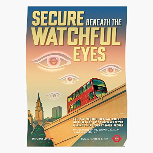 Cctv Orwellian London Eyes Beneath Orwell Secure Watchful Home Decor Wall Art Print Poster ! Home Decor Wall Art Print Poster !