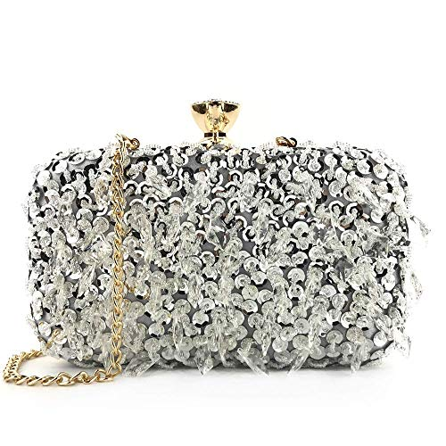 RUXMY Casual Ladies Evening Bag Women's Evening Handbags Clutch Purse For Bridesmaid Wedding Party Prom For Party Wedding (Color : Black, Size : Free size)