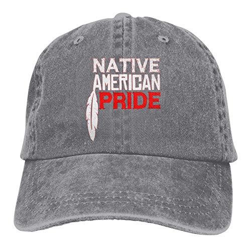 XCNGG Native American Pride Sombreros de Vaquero Unisex Sombrero de Mezclilla Deportivo Gorra de béisbol de Moda Negro