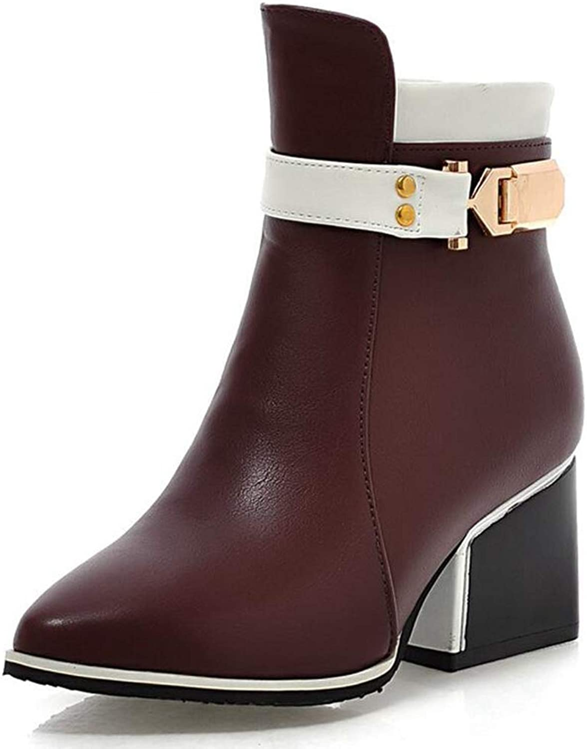 GIY Women's Sexy Winter Warm Fur Ankle Boots Buckle Strap Zip Chelsea Boots Motorcycle Pointed Toe High-Heels Martin Boots