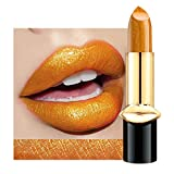 KUYG Pintalabios metálico de Glimmer metálico, color crema hidratante, resistente al agua, maquillaje duradero para mujeres