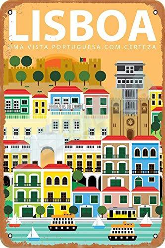 OSONA Lisboa Retro nostálgico arte tradicional color óxido logotipo de lata publicidad llamativa decoración de la pared regalo