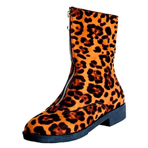 Andouy Damen Halbschaft Stiefel Modisch Warme Winterstiefel Schneestiefel mit Reißverschluss(40 EU,Gelb)