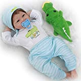 Yesteria Reborn Baby Doll, 22 Inch Realistic Silicone Baby Doll, Weighed Reborn Girl Doll in Crocodile Outfit, with Accessories and Certificate of Adoption