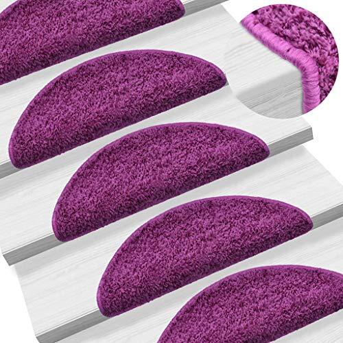 Festnight- 15 STK. Treppenmatten   Stufenmatten   mit Doppelseitigen Klebebändern   Schwarz/Braun/Violett/Rot Polypropylen   56 x 20/65 x 25 cm