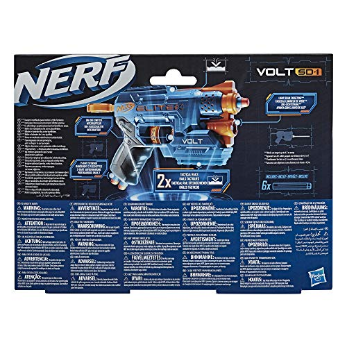 Nerf Elite 2.0 Volt SD-1 Blaster – 6 Official Nerf Darts, Light Beam Targeting, 2-Dart Storage, 2 Tactical Rails to Customise for Battle