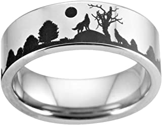 Cloud Dancer 8MM Width Silver Pipe Howling Wolf Wolves Landscape Scene Tungsten Ring Flat Polished Finish-Free Engraving Inside Sizes 4 to 17