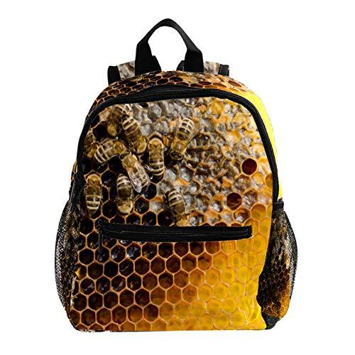 School Backpack Kids Schoolbag Student Bookbag,Honeycom Beehive and Bees