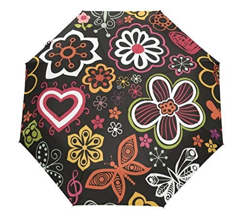 Eleganter Regenschirm Stil Aquarell Blumen Frauen Regenschirm DREI Folding Automatische Regenschirme Blacking Beschichtung Sunny Rainy Männer Regenschirm (Color : Light Grey)