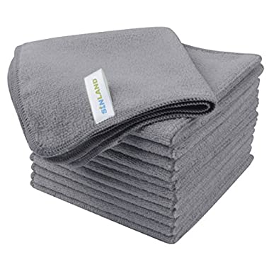 Sinland Absorbent Microfiber Cleaning Cloth Kitchen Dish Cloth Streak Free Dish Rags Glass Cloths 12inchx12inch 12 Pack Grey