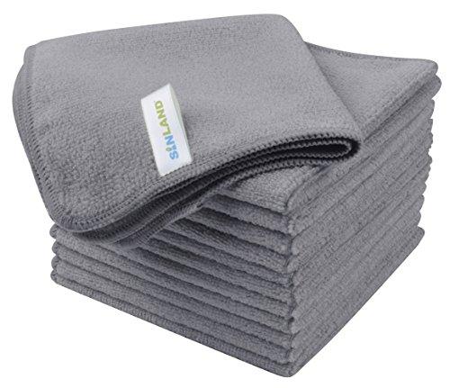 SINLAND マイクロファイバー クリーニングクロス 業務用タオル キッチン 掃除 洗車 吸水 速乾 クロス 12枚入 グレー