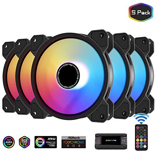 EZDIY-FAB 120mm RGB lüfter,Motherboard Aura Sync Lüfter,hoher Luftstrom, ARGB Gehäuselüfter für PC Gehäuse,Geschwindigkeit einstellbar mit 10 Port Hub X and Remote-5 Pack