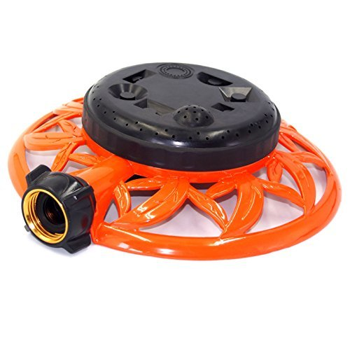2wayz 8 Pattern Turret Garden Lawn Sprinkler with Super Heavy Duty Circle Metal Base. Powerful Water Output with No Leaks! ¾ Hose Input, 360°...