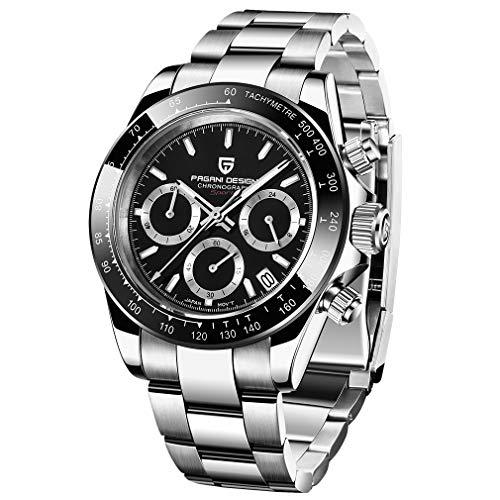 PAGANI DESIGN - Reloj de cuarzo para hombre. Reloj con movimiento japonés, diseño deportivo, cronógrafo, de acero inoxidable, multifunción, resistente al agua