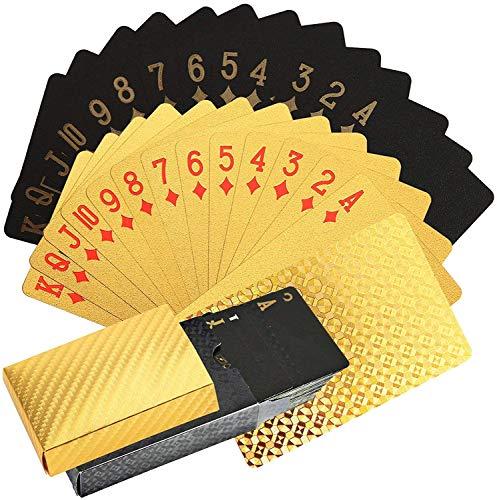 KAHEIGN Poker Spielkarten Kartenspiel, 24K Folie wasserdichte Pokerkarten Diamond Spielkarten Professionelles klassisches Zauber Trickwerkzeu für Kartenspieler Familienpartyspiel (Gold + Schwarz)