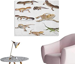 Anzhutwelve Reptile Art Decor Decals Stickers Colorful Staring Leopard Gecko Family Image Primitive Reptiles Wildlife Art Print Art Poster Multicolor W36 xL32