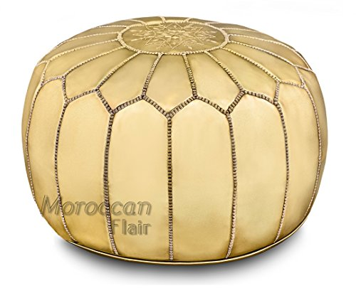 "Moroccan Flair | Genuine Handmade Moroccan Metallic Pouf | Bedroom & Living Room Round Ottoman | Premium Italian Ski Leather | Eco-Friendly Materials | 20"" x 20"" x 14"" | Gold Metalic"