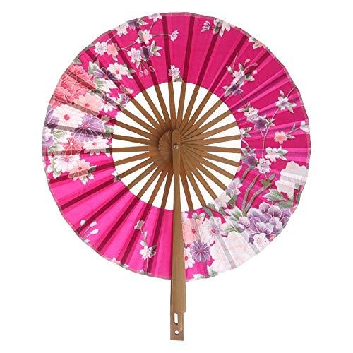 weichuang Abanico de mano plegable japonés con flores de Sakura circular redondo para decoración de fiesta (color: rojo)