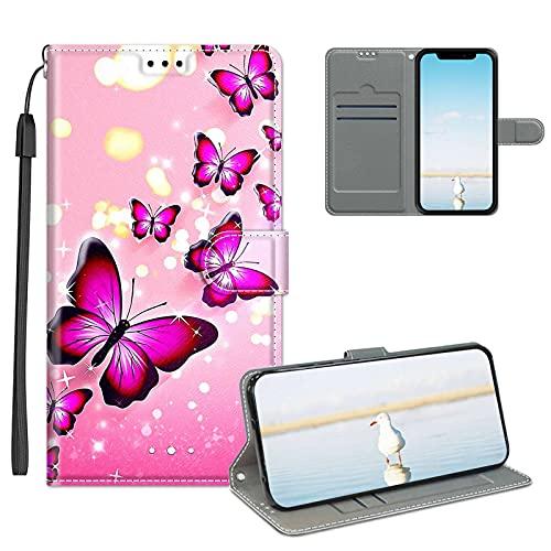 Cestor Mädchen Brieftasche Handyhülle für Samsung Galaxy A32 4G,Damen 3D Bunt Muster Stoßfest Magnetisch Klappbar Weich Silikon Ständer Gurt PU Leder Flip Hülle mit Kartenfächer,Rosa Schmetterling